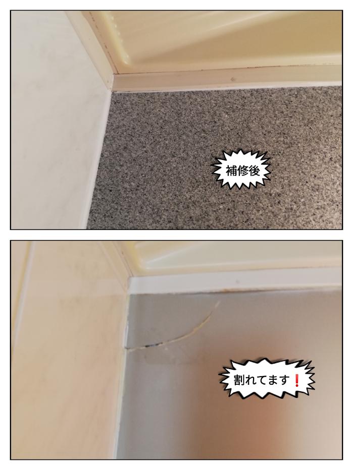 浴室のミラーキャビネットのひび割れ修理